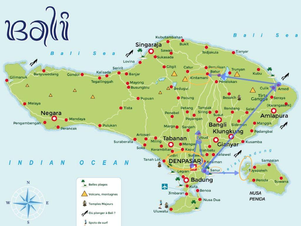Carte Bali Road Trip.Road Trip A Bali Notre Itineraire Complet Semaine 1